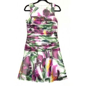 London Times dress floral sheer tiered sleeveless